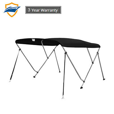 3 Bow Bimini Boat Top Cover with storage boot, Color Black, w/support poles 3 Bow Bimini Top Storage