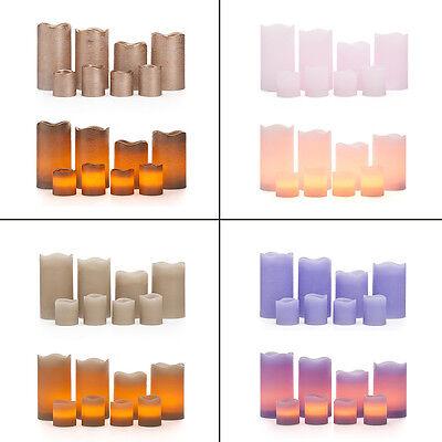 Batterie Kerzen (8 LED Echtwachskerzen mit Timer 4 Stumpenkerzen 4 Teelichter Kerzen mit Batterie)