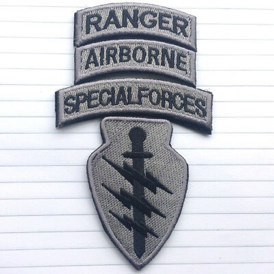 SPECIAL FORCES AIRBORNE RANGER USA MILITARY 4SET HOOK PATCH SWAT ACU DARK BADGE