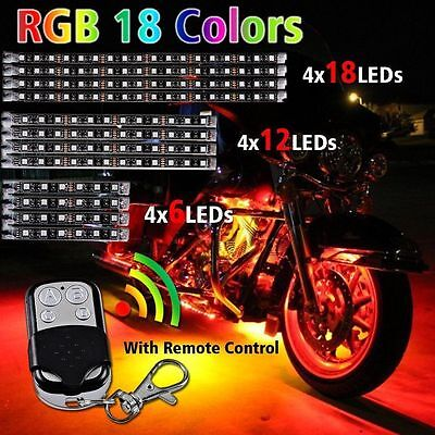 Motorcycle Multi-color 12X Universal RGB 18 Colors LED Light Strips Kit