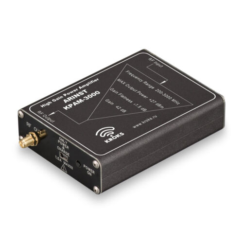 Arinst power amplifier 200 Mhz to 3 GHz 42 dB gain with built-in Li-Ion battery