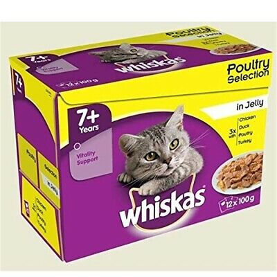 Whiskas 7+ Senior Cat Food Pouches Poultry Selection In Jelly, 100 G (pack Of