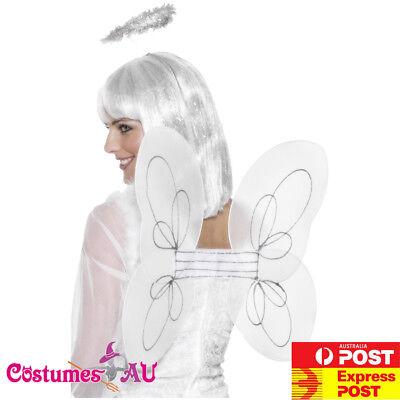 Ladies White Angel Fairy Wings Halo Kit Set Halloween Party Costume - Fairy Halloween Costume Accessories