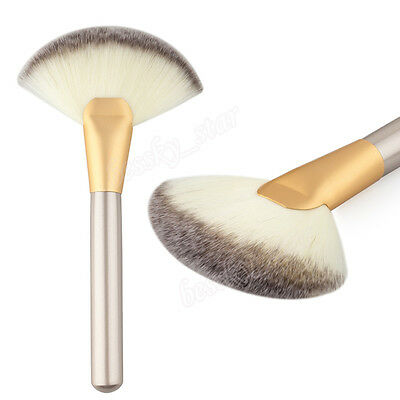 Damen Make-up Pinsel groß Fan Ziegen Haar Rouge Puder GRUNDIERUNG Kosmetik