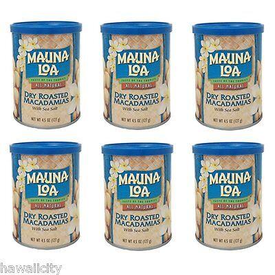 6 Can Value MAUNA LOA MACADAMIA NUTS  - Original DRY ROASTED FREE SHIPPING