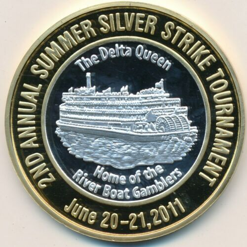 4 QUEENS CASINO 1/4 LB 999 SILVER STRIKE-24 KT GOLD EP-DELTA QUEEN 2011-FREE S/H