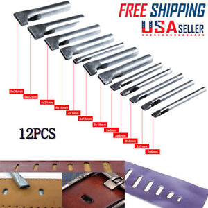 12x Leather Craft Rectangle Punch Hole Tools Kit Oval Shape Puncher Cutter Tools