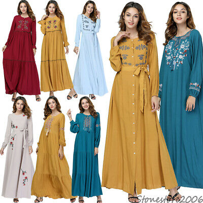 Ethnic Embroidery Muslim Women Abaya Long Maxi Dress Kaftan Gown Cocktail Robes