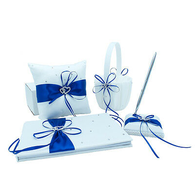 Ribbon Guest Book - Royal Blue Wedding Guest Book + Pen Set + Flower Basket + Ring Pillow Ribbon Bow