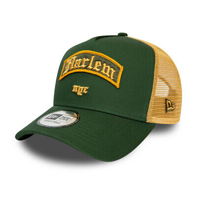 NEW ERA HARLEM NYC TRUCKER CAP.9FORTY GREEN A FRAME SNAPBACK BASEBALL HAT S20 45