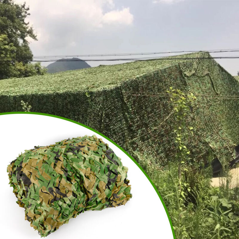 26 x 26FT Woodland Leaves Cover Camouflage Net Hunting Camo w/ String Netting