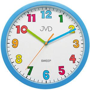 JVD HA46.1 Wanduhr für Kinder Kinderwanduhr hellblau leise ohne Ticken 47931