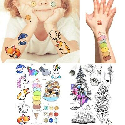 Temporary Tatoos For Kids (Cartoon Boys Girls Temporary Tattoos For Kids Arm Face Unicorn Dog Tatoo)