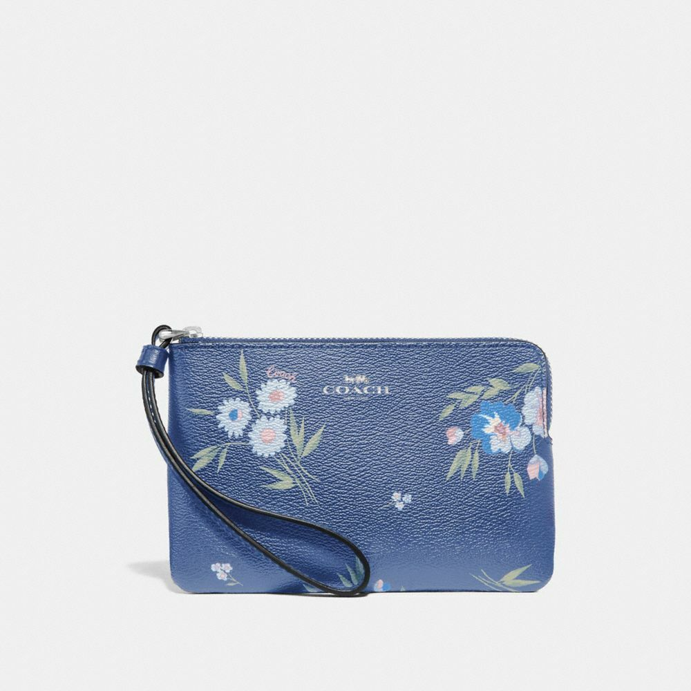 New Coach F58032 F58035 Corner Zip Wristlet New With Tags Dark Periwinkle Daisy