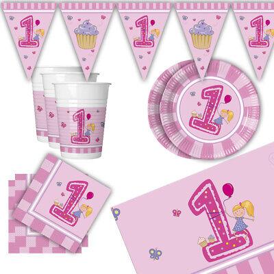 chen Rosa Dekoration Teller Becher Girlande 1. Geburtstag (Rosa Becher)