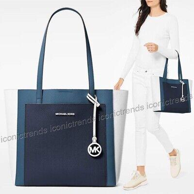 NWT 🌎 Michael Kors Gemma Large Pocket Leather Tote Dark Chambray Blue (Blue Michael)