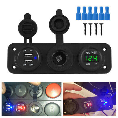 Dual USB Port Car Cigarette Lighter Socket & 12V Charger Power Adapter Outlet UK