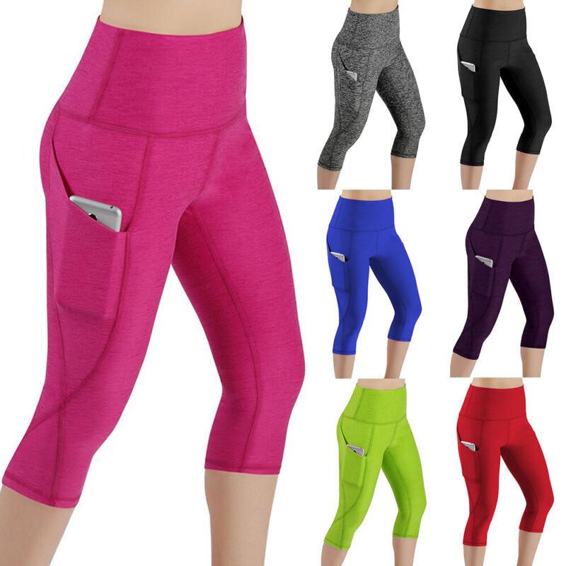 Damen 3/4 Capri Leggings Sporthose Laufhose Fitness Jogginghose Leggins Taschen
