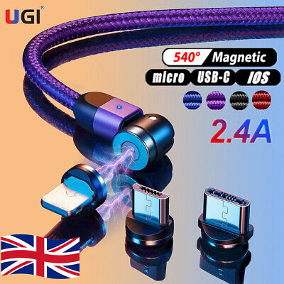 UK 360°/180° Fast Magnetic Cable Type C Micro USB Charger Cord For Android Phone