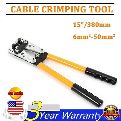 Large Wire Terminal Crimping Tool 6-50mm Cable Lug Crimper Terminal W 6 Dies