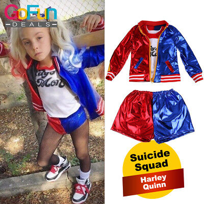 Halloween Mädchen Cosplay Suicide Squad Harley Quinn Kostüm Kinder Anzug Kostüm