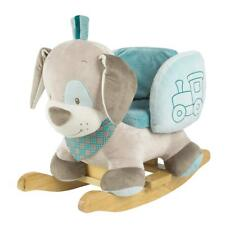Nattou Plush Rocking Animal Wooden From 1 Year With Belt Cyril The Dog