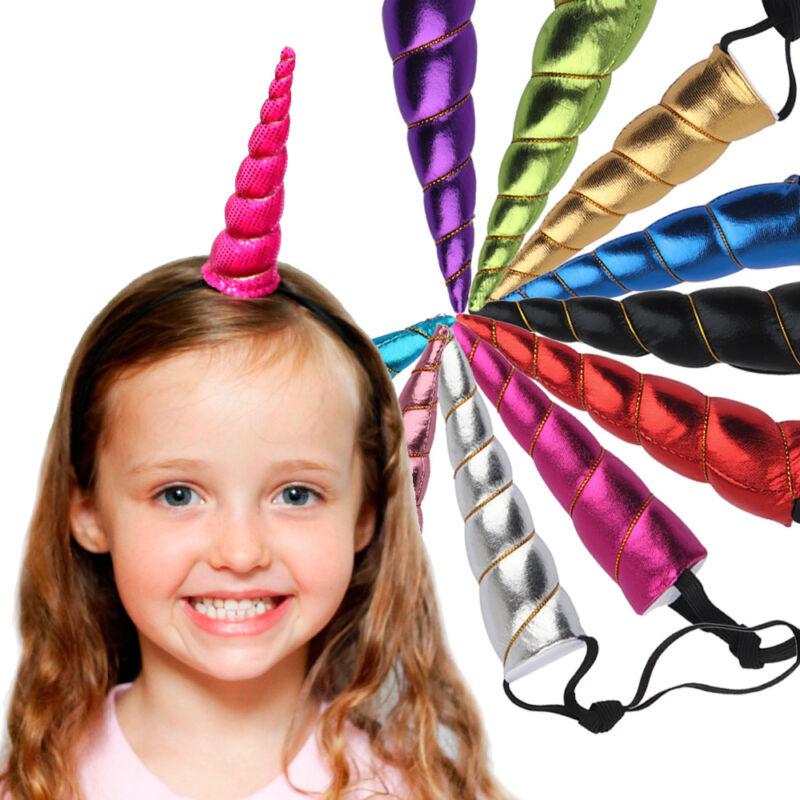 Kids Glitter Unicorn Horns Headband Children Unicorn Party DIY Hairband Baby