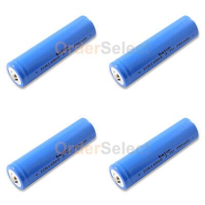 4X NEW Battery ICR Rechargeable 3.7V 750mAh LiFePO4 14500 Solar Flashlight Torch