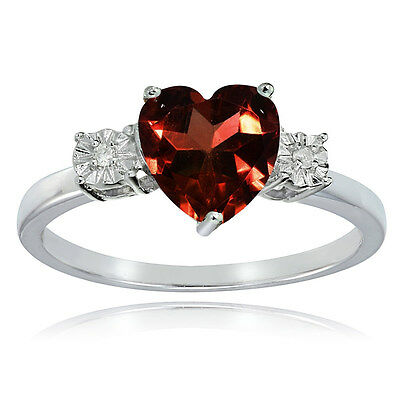 Diamond Accent Heart Ring (Sterling Silver African Garnet and Diamond Accent Heart Ring )