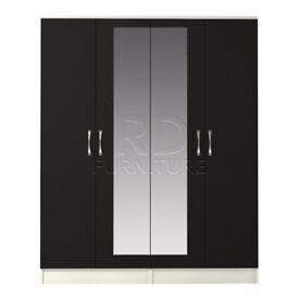 Classic 4 door mirrored wardrobe white and black
