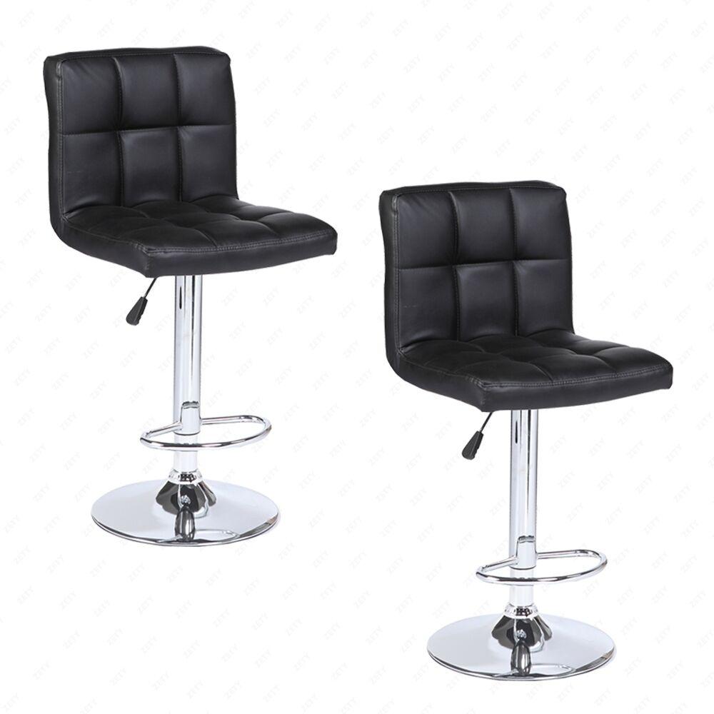 Set Of 2 Modern Design Bar Stools Swivel Leather