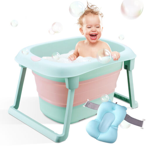 Baby Bathtub, Foldable Infant Bath Tubs with Cushion Collapsible Shower Kids Tub