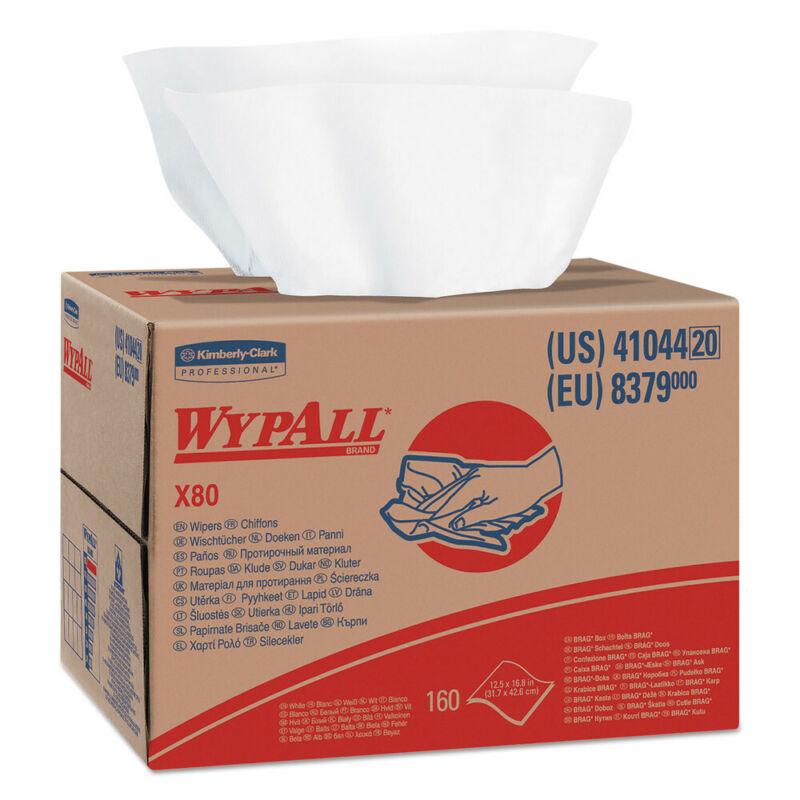 WypAll 41044 160/Box 12-1/2 in. x 16-4/5 in. X80 Cloths w/ Hydroknit White New