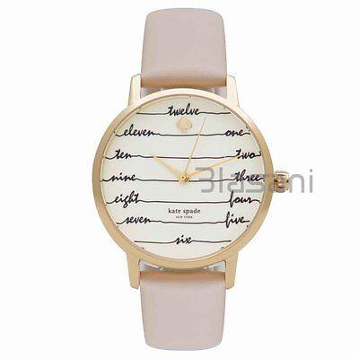 Kate Spade Original KSW1059 Women's Metro Chalkboard Vachetta Leather Watch 34mm