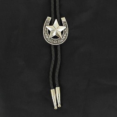 Double S Western Mens Bolo Neck Tie Horseshoe Star Silver Black 22860