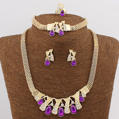 Cheap Purple Costume Jewellery Set Party Necklace Earring Ring Set](Cheap Halo Costume)