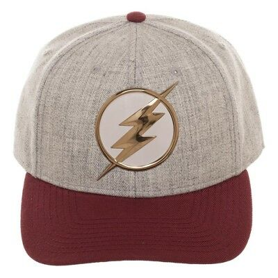 OFFICIAL DC COMICS - THE FLASH SYMBOL GREY BASEBALL CAP WITH PRINTED VISOR (NEW) - Cheap Visor Hats