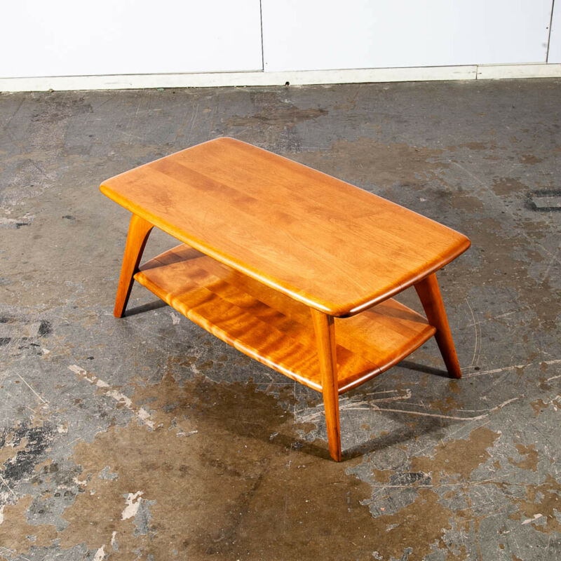 Mid Century Modern Coffee Table Heywood Wakefield Blonde Wood Birch Maple Shelf