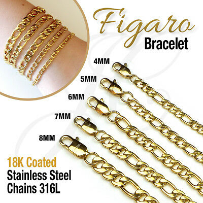 - 18K Gold Plated Stainless Steel 316L Figaro Chain Bracelet Men Women 7.5