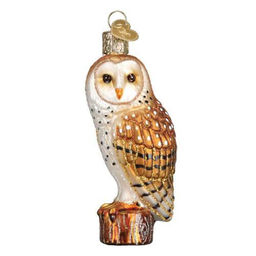BARN OWL OLD WORLD CHRISTMAS GLASS HANGING BIRD AVIARY FARM ORNAMENT NWT 16118
