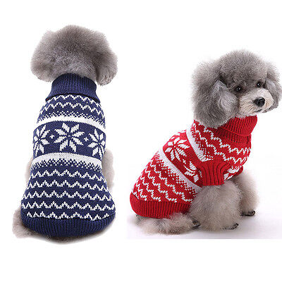 Christmas Snowflake Pet Dog Puppy Warm Sweater Jumpsuit Hoodie Clothes Outwear