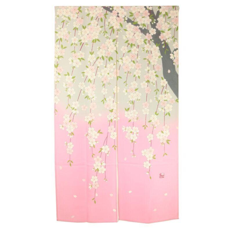 JAPANESE Noren Curtain NEW SAKURA CHERRY YUZEN FROM JAPAN