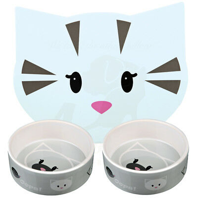 2 x Trixie Grey Mimi Ceramic Cat Kitten Bowls 0.3 l/ø 12 cm & Matching Placemat