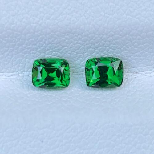 Pair Natural Unheated 0.94 Cts Green Tsavorite Garnet Cushion Loose Gemstone