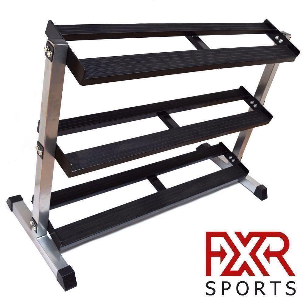 FXR SPORTS HEAVY DUTY 3 TIER STEEL HEX DUMBBELL STORAGE RACK HOLDER STAND