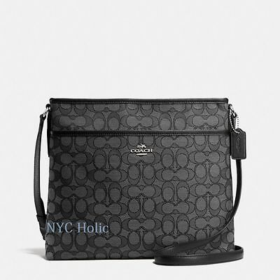 New Coach F55363 Signature File Bag Crossbody Handbag Black Smoke $195 NWT