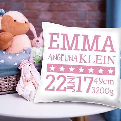 Babykissen Mädchen mit Namen, Geburtsdatum, Größe, Gewicht, Geburt, Geschenkidee