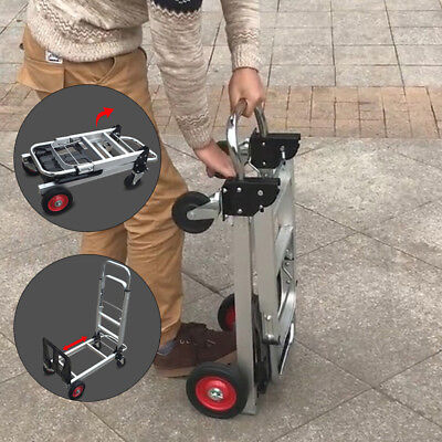 2 In1 Aluminum Hand Truck Convertible Folding Dolly Platform Cart 4 Wheeler Usa