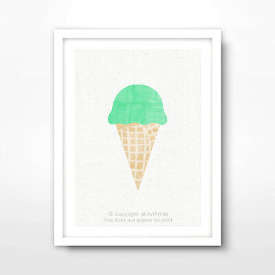 MINT GREEN ICE CREAM CUTE KITCHEN ART PRINT Home Decor Room Wall Picture A4 A3A2 ()