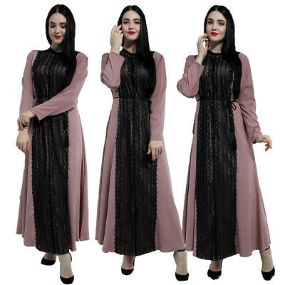 Dubai Abaya Muslim Women Lace Long Maxi Dress Cocktail Jilbab Kaftan Party Gown